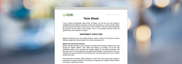 Seedrs Term Sheet May